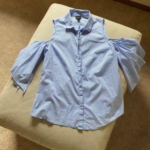 Windsor Small Cold Shoulder Blue Button Up Shirt